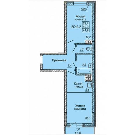 Вариант №4975, 2-комнатная квартира в жилом комплексе