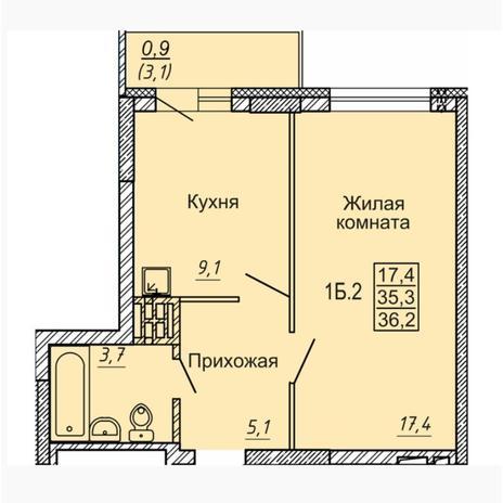 Вариант №4549, 1-комнатная квартира в жилом комплексе Новые Матрешки