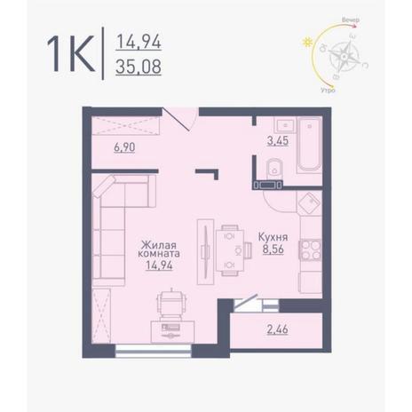 Вариант №4791, 1-комнатная квартира в жилом комплексе