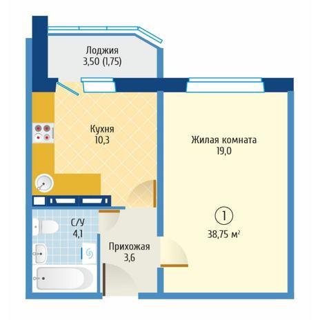Вариант №6080, 1-комнатная квартира в жилом комплексе