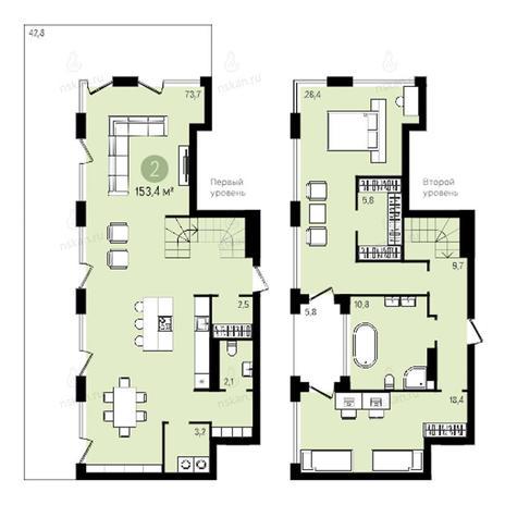 Вариант №2383, 4-комнатная квартира в жилом комплексе