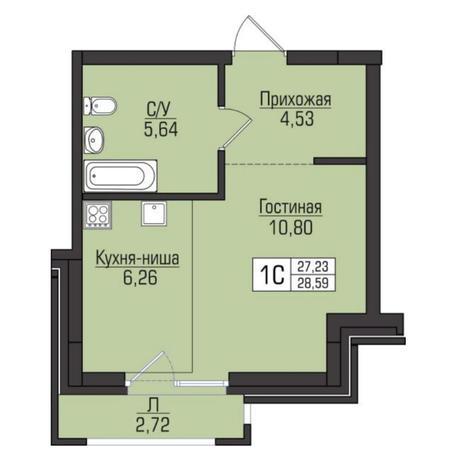 Вариант №5088, 1-комнатная квартира в жилом комплексе