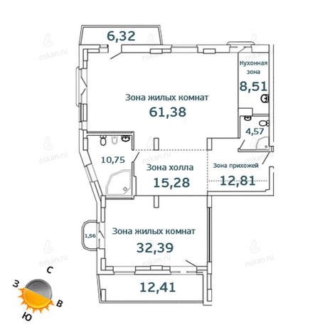 Вариант №1071, 3-комнатная квартира в жилом комплексе Тайм (Time)