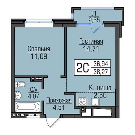 Вариант №2939, 2-комнатная квартира в жилом комплексе Акварельный 3.0