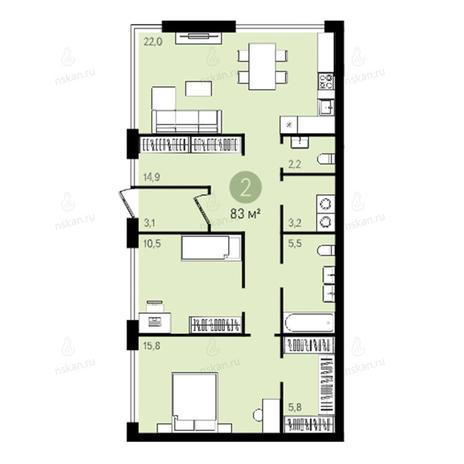 Вариант №2375, 3-комнатная квартира в жилом комплексе Квартал на Никитина