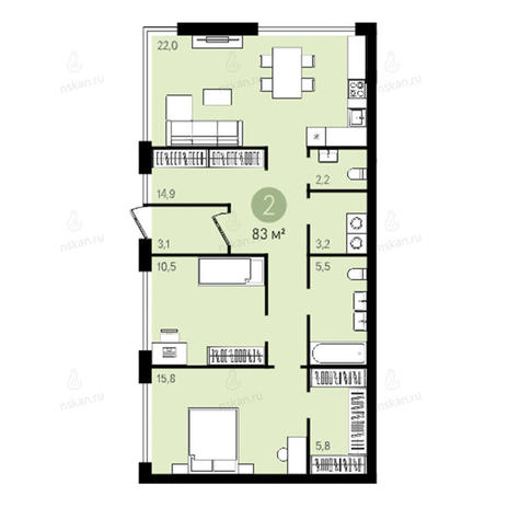 Вариант №2375, 3-комнатная квартира в жилом комплексе
