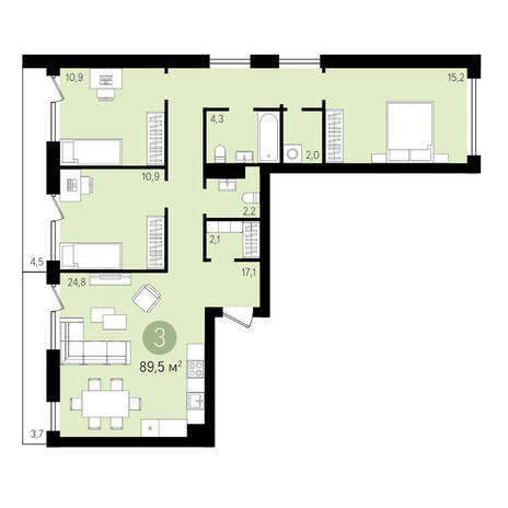 Вариант №3310, 3-комнатная квартира в жилом комплексе Европейский Берег