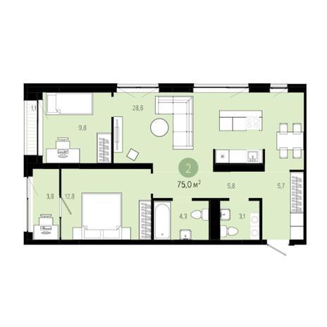 Вариант №6263, 3-комнатная квартира в жилом комплексе