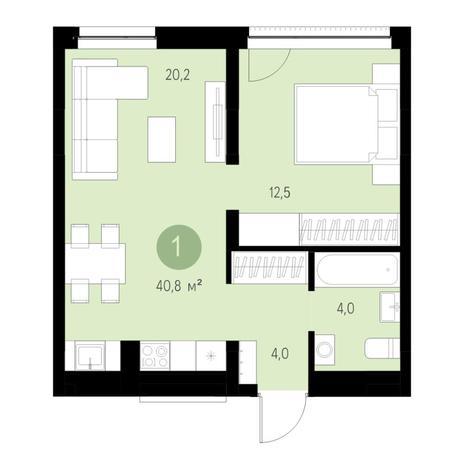 Вариант №4627, 2-комнатная квартира в жилом комплексе Чистая Слобода