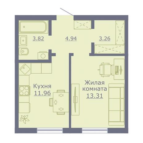 Вариант №3503, 1-комнатная квартира в жилом комплексе