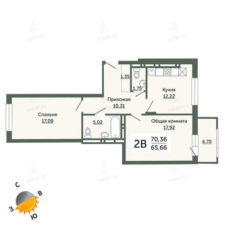 Вариант №686, 2-комнатная квартира в жилом комплексе На Немировича