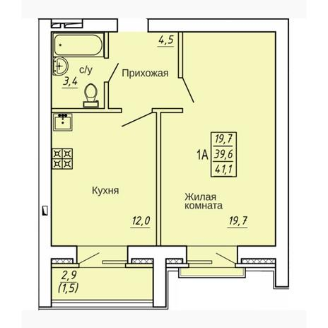 Вариант №4323, 1-комнатная квартира в жилом комплексе Марсель