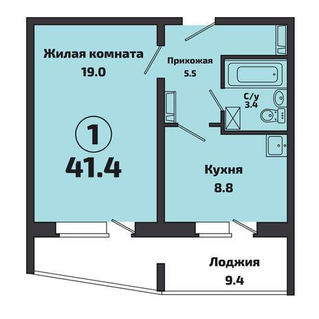 Вариант №3825, 1-комнатная квартира в жилом комплексе Приозерный