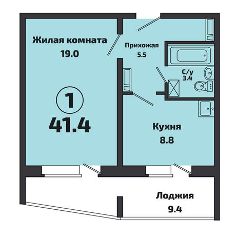 Вариант №3825, 1-комнатная квартира в жилом комплексе