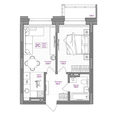 Вариант №6655, 2-комнатная квартира в жилом комплексе