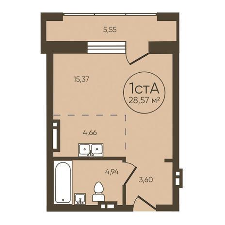 Вариант №3619, 1-комнатная квартира в жилом комплексе