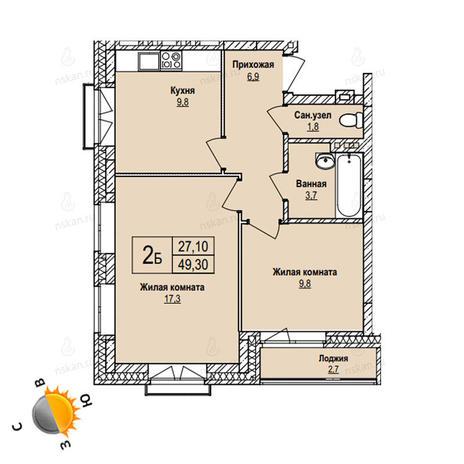 Вариант №1095, 2-комнатная квартира в жилом комплексе