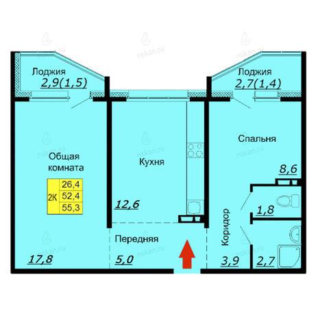 Вариант №2588, 2-комнатная квартира в жилом комплексе