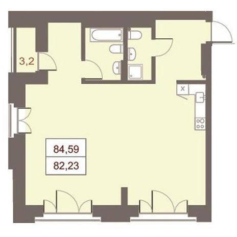 Вариант №2868, 3-комнатная квартира в жилом комплексе Дом на Чаплыгина