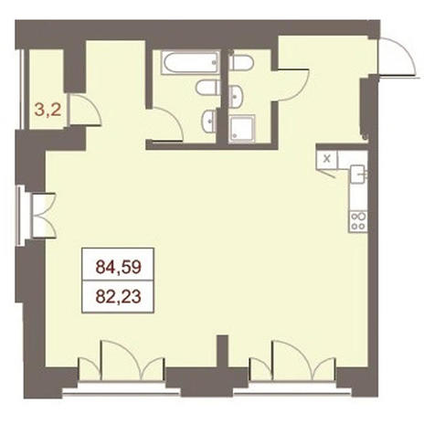 Вариант №2868, 3-комнатная квартира в жилом комплексе