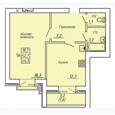 Вариант №4311, 1-комнатная квартира в жилом комплексе Крымский