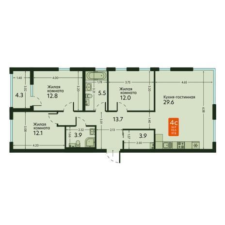 Вариант №6668, 4-комнатная квартира в жилом комплексе