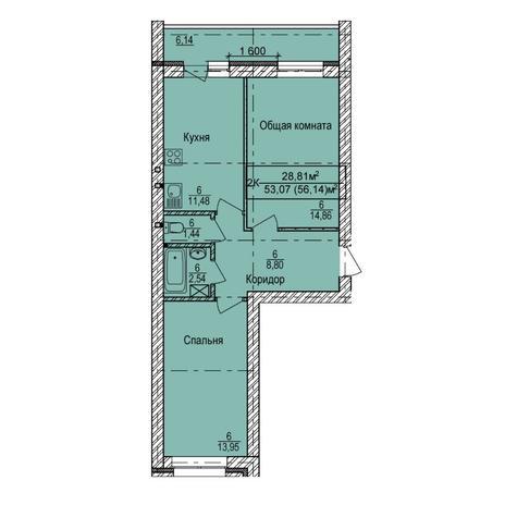 Вариант №6144, 2-комнатная квартира в жилом комплексе Дивногорский
