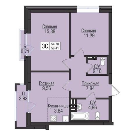 Вариант №5085, 3-комнатная квартира в жилом комплексе Цивилизация