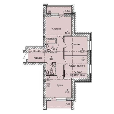 Вариант №3991, 3-комнатная квартира в жилом комплексе