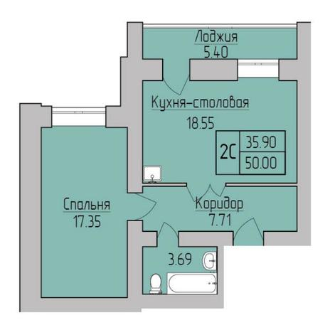 Вариант №5353, 2-комнатная квартира в жилом комплексе