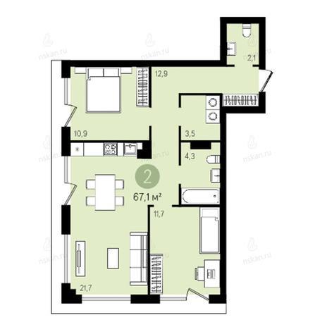Вариант №2623, 3-комнатная квартира в жилом комплексе Квартал на Никитина