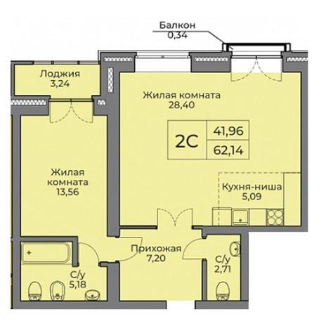 Вариант №3527, 2-комнатная квартира в жилом комплексе