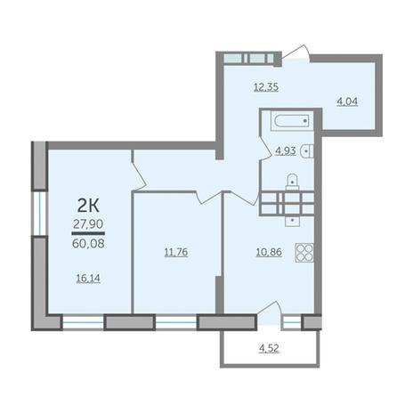 Вариант №2982, 2-комнатная квартира в жилом комплексе