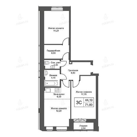 Вариант №2752, 3-комнатная квартира в жилом комплексе Эволюция