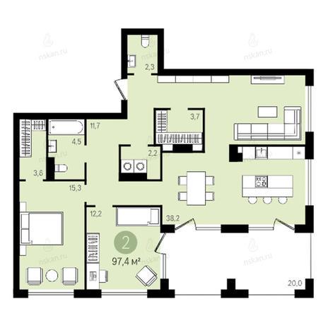 Вариант №2635, 3-комнатная квартира в жилом комплексе