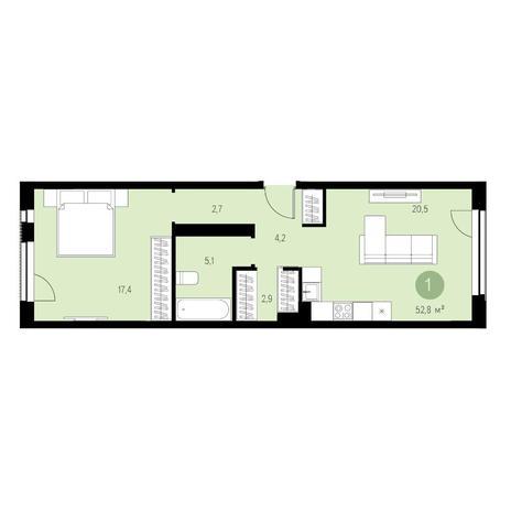 Вариант №4648, 2-комнатная квартира в жилом комплексе Европейский Берег