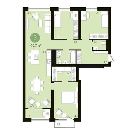 Вариант №3610, 4-комнатная квартира в жилом комплексе
