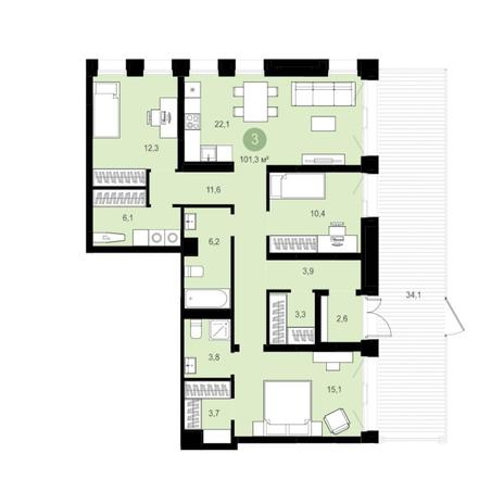 Вариант №6283, 4-комнатная квартира в жилом комплексе
