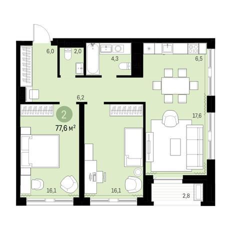 Вариант №6306, 3-комнатная квартира в жилом комплексе