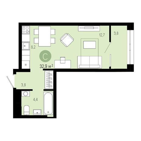 Вариант №4849, 1-комнатная квартира в жилом комплексе