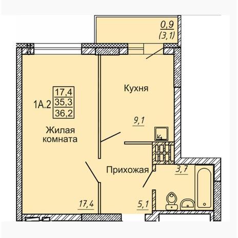 Вариант №4545, 1-комнатная квартира в жилом комплексе Новые Матрешки