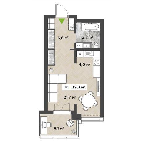 Вариант №5852, 1-комнатная квартира в жилом комплексе