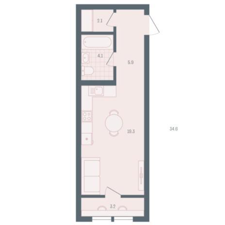 Вариант №5912, 1-комнатная квартира в жилом комплексе