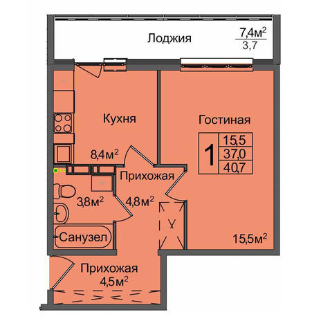 Вариант №3897, 1-комнатная квартира в жилом комплексе