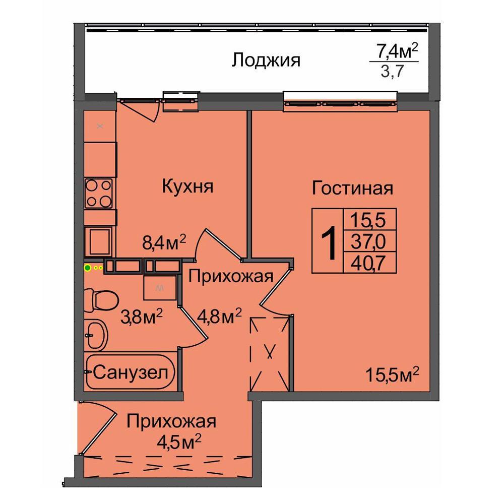 Планировка 1-комнатная площадью 40.7 м<sup>2</sup> в ЖК Венеция