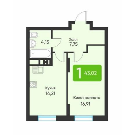Вариант №5884, 1-комнатная квартира в жилом комплексе