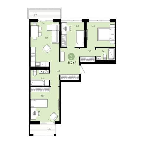 Вариант №4828, 4-комнатная квартира в жилом комплексе