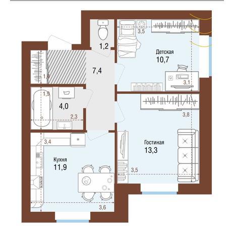 Вариант №4215, 2-комнатная квартира в жилом комплексе Грани