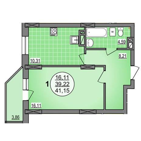 Вариант №3887, 1-комнатная квартира в жилом комплексе Гурьевский