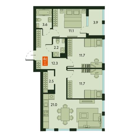 Вариант №6678, 4-комнатная квартира в жилом комплексе